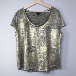 Mossimo Gold Lame Look Short Sleeve Blouse Size
